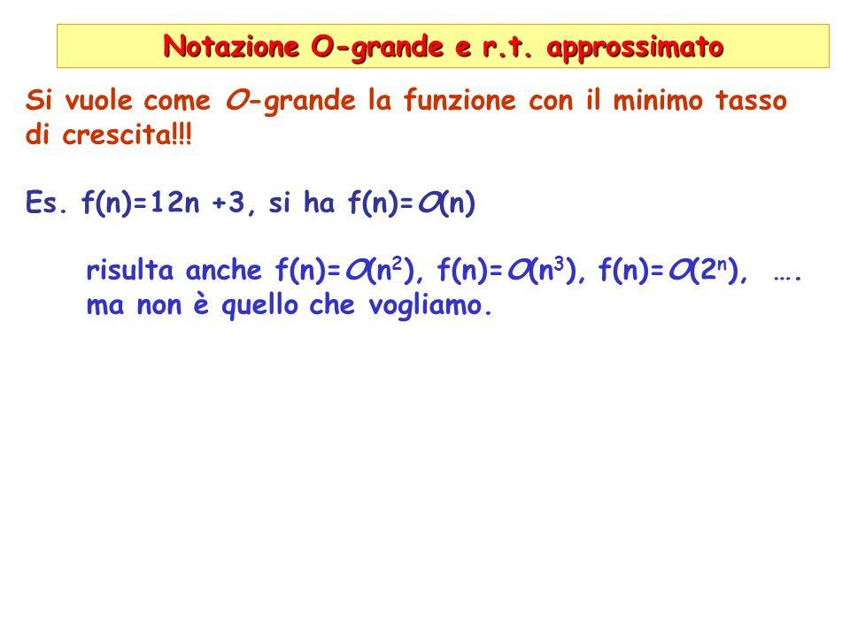 Notazione O-grande e r.t. approssimato Si vuole come O-grande la funzione con il minimo tasso di crescita!!! Es. f(n)=12n +3, si ha f(n)=O(n) risulta