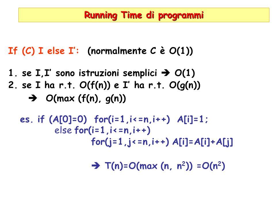 Running Time di programmi If (C) I else I: (normalmente C è O(1)) 1.se I,I sono istruzioni semplici O(1) 2.se I ha r.t. O(f(n)) e I ha r.t. O(g(n)) O(