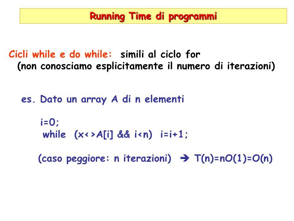 Running Time di programmi Cicli while e do while: simili al ciclo for (non conosciamo esplicitamente il numero di iterazioni) es. Dato un array A di n