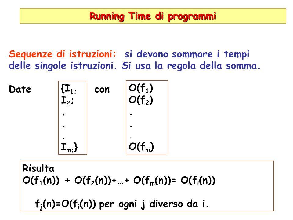 Running Time di programmi Sequenze di istruzioni: si devono sommare i tempi delle singole istruzioni. Si usa la regola della somma. Date con {I 1; I 2