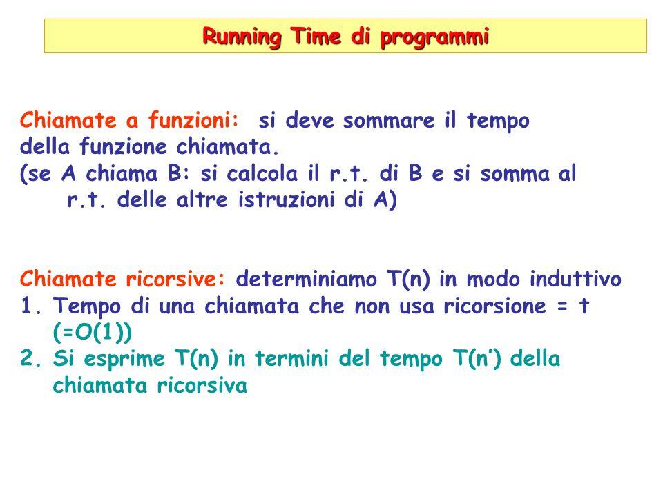 Running Time di programmi Chiamate a funzioni: si deve sommare il tempo della funzione chiamata. (se A chiama B: si calcola il r.t. di B e si somma al