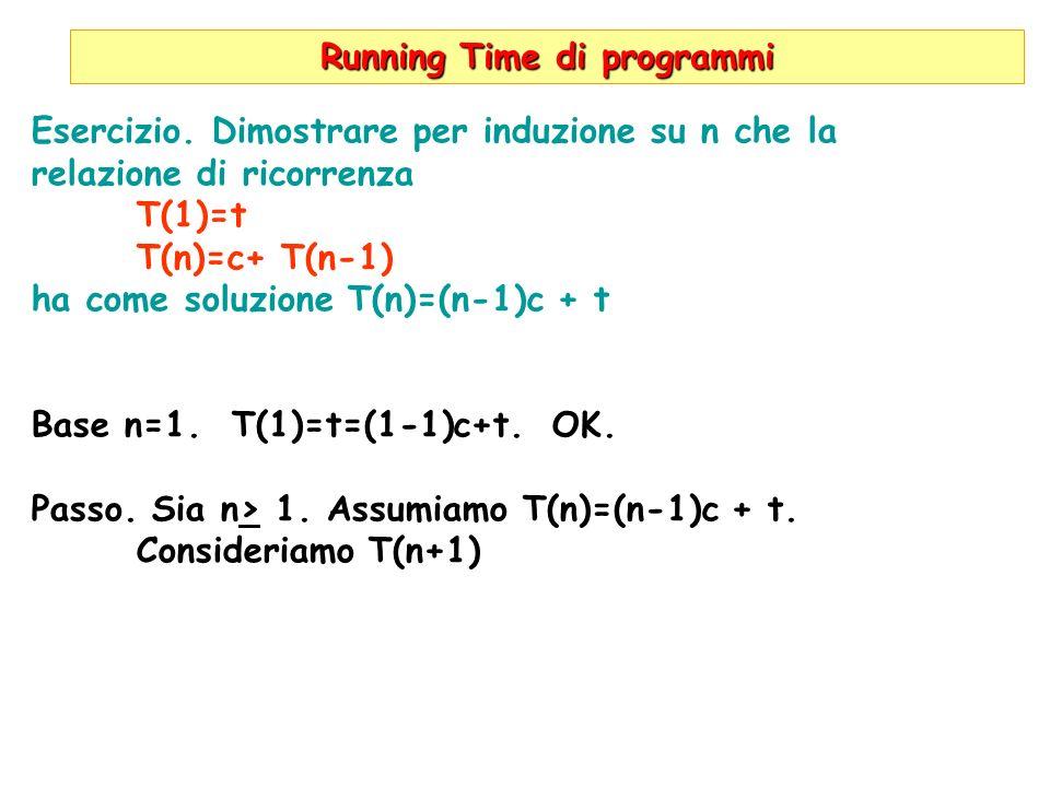 Running Time di programmi Esercizio. Dimostrare per induzione su n che la relazione di ricorrenza T(1)=t T(n)=c+ T(n-1) ha come soluzione T(n)=(n-1)c