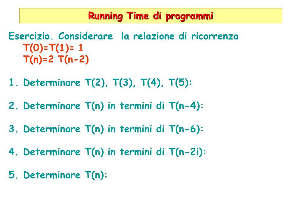 Running Time di programmi Esercizio. Considerare la relazione di ricorrenza T(0)=T(1)= 1 T(n)=2 T(n-2) 1.Determinare T(2), T(3), T(4), T(5): 2.Determi