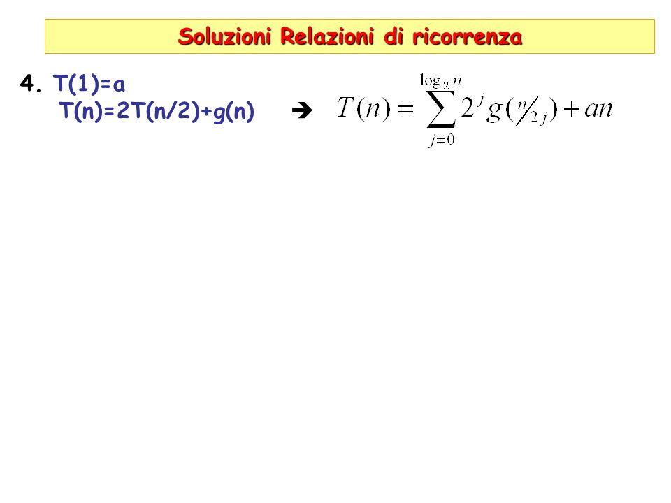 Soluzioni Relazioni di ricorrenza 4. T(1)=a T(n)=2T(n/2)+g(n)