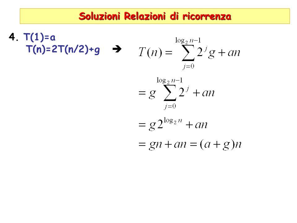Soluzioni Relazioni di ricorrenza 4. T(1)=a T(n)=2T(n/2)+g