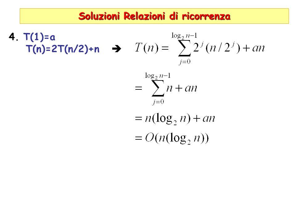 Soluzioni Relazioni di ricorrenza 4. T(1)=a T(n)=2T(n/2)+n