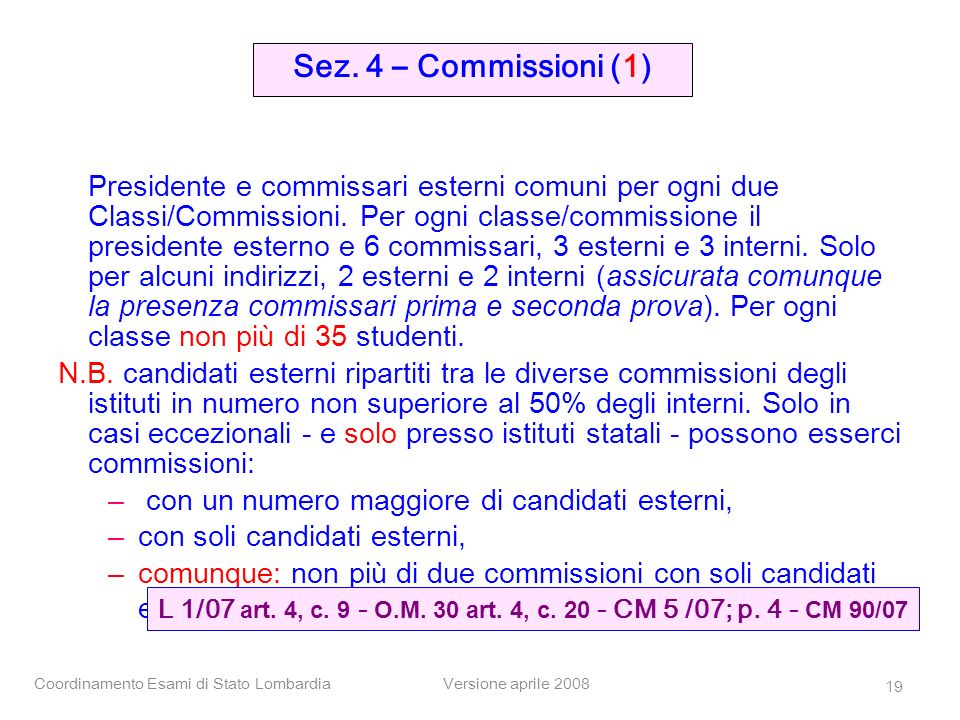 Coordinamento Esami di Stato LombardiaVersione aprile 2008 19 Presidente e commissari esterni comuni per ogni due Classi/Commissioni. Per ogni classe/