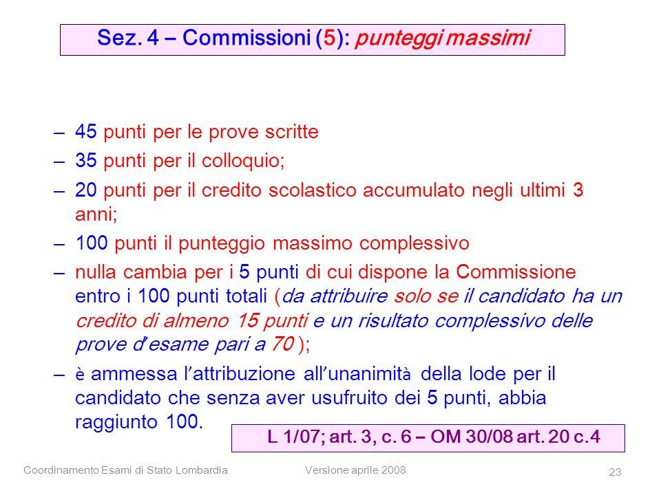 Coordinamento Esami di Stato LombardiaVersione aprile 2008 23 – 45 punti per le prove scritte – 35 punti per il colloquio; – 20 punti per il credito s
