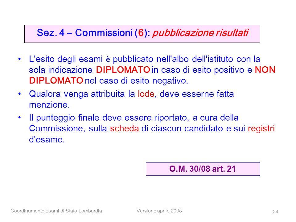 Coordinamento Esami di Stato LombardiaVersione aprile 2008 24 Sez. 4 – Commissioni (6): pubblicazione risultati L'esito degli esami è pubblicato nell'