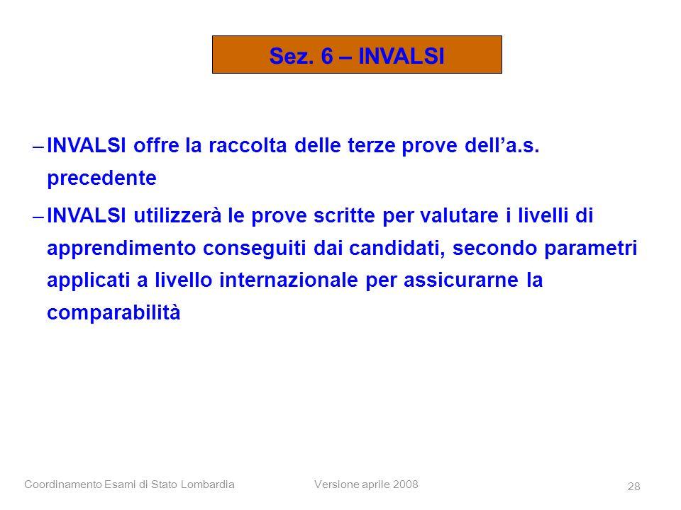 Coordinamento Esami di Stato LombardiaVersione aprile 2008 28 –INVALSI offre la raccolta delle terze prove della.s. precedente –INVALSI utilizzerà le