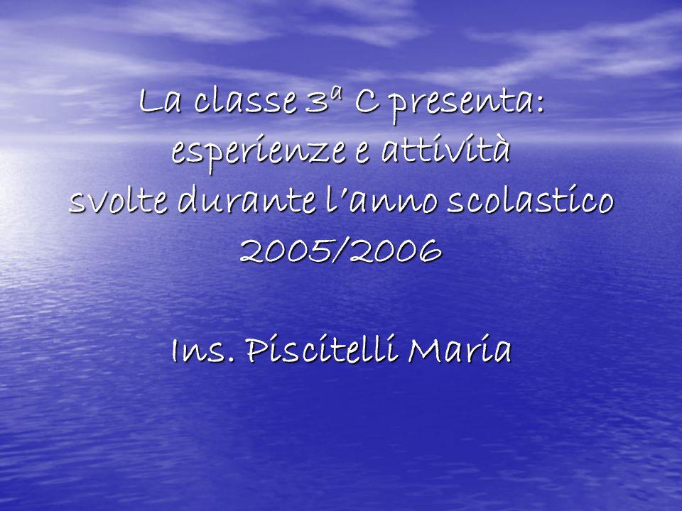 La classe 3a C presenta: esperienze e attività svolte durante lanno scolastico 2005/2006 Ins. Piscitelli Maria