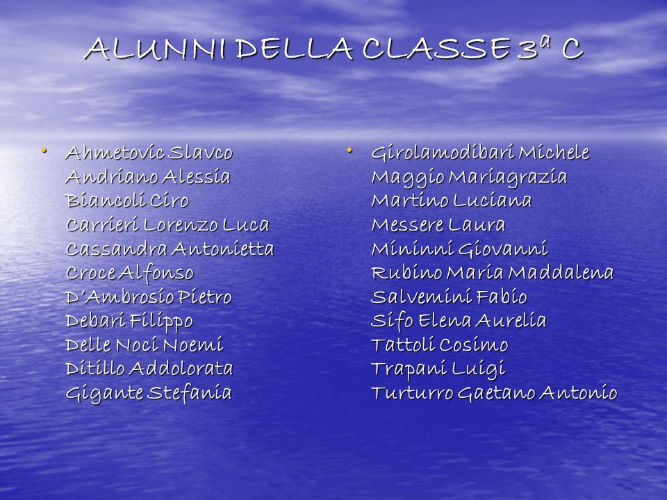 ALUNNI DELLA CLASSE 3a C Ahmetovic Slavco Andriano Alessia Biancoli Ciro Carrieri Lorenzo Luca Cassandra Antonietta Croce Alfonso DAmbrosio Pietro Deb