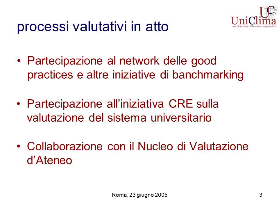 Roma, 23 giugno 20053 processi valutativi in atto Collaborazione con il Nucleo di Valutazione dAteneo Partecipazione al network delle good practices e