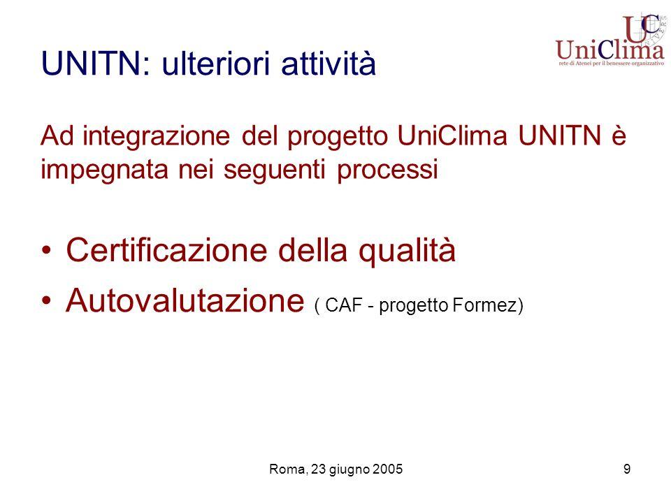 Roma, 23 giugno 20059 UNITN: ulteriori attività Certificazione della qualità Autovalutazione ( CAF - progetto Formez) Ad integrazione del progetto Uni
