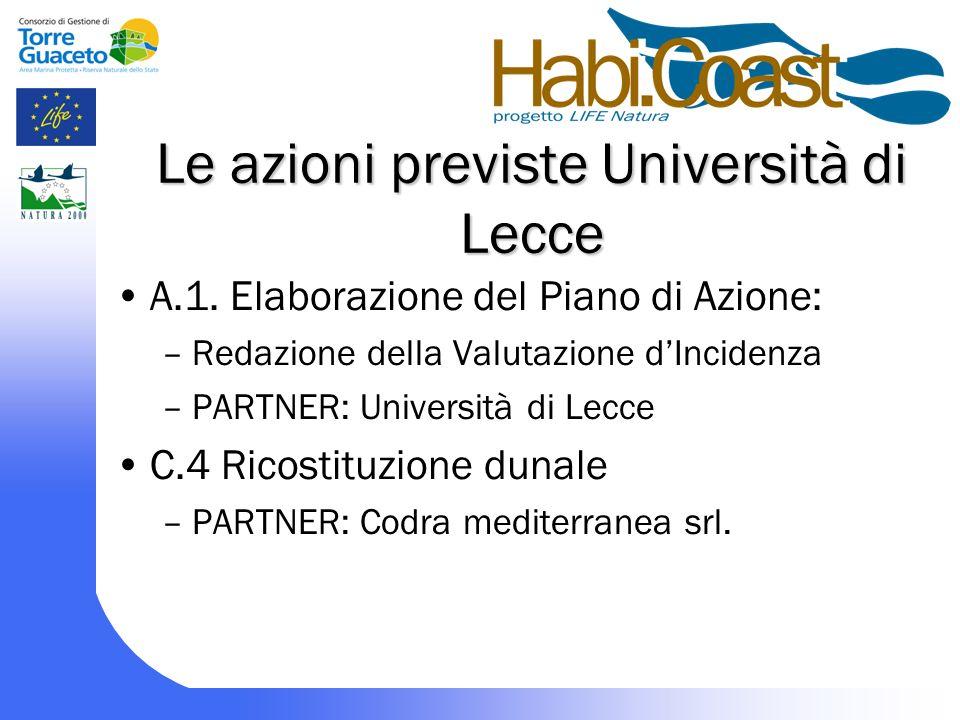 Le azioni previste Università di Lecce A.1.