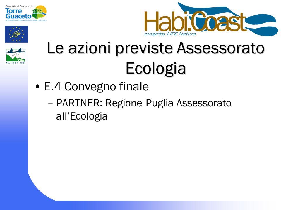 Le azioni previste Assessorato Ecologia E.4 Convegno finale –PARTNER: Regione Puglia Assessorato allEcologia