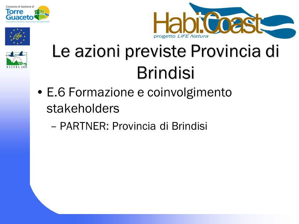 Le azioni previste Provincia di Brindisi E.6 Formazione e coinvolgimento stakeholders –PARTNER: Provincia di Brindisi