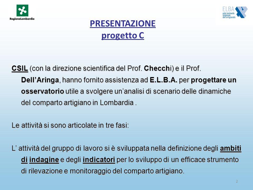 2 PRESENTAZIONE progetto C CSIL (con la direzione scientifica del Prof. Checchi) e il Prof. DellAringa, hanno fornito assistenza ad E.L.B.A. per proge