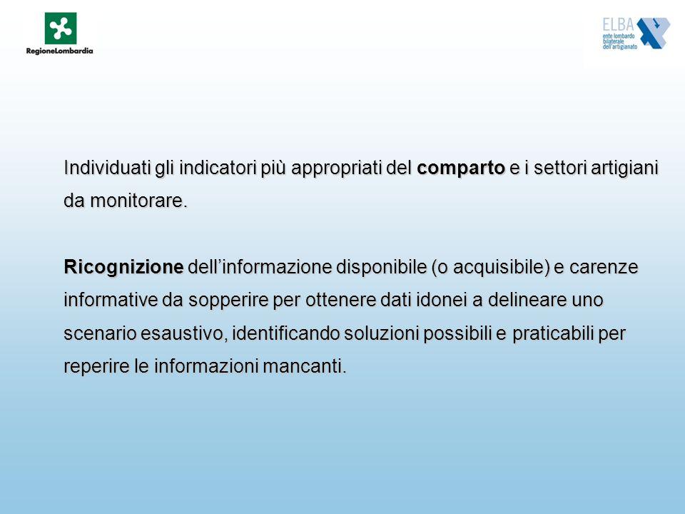 Individuati gli indicatori più appropriati del comparto e i settori artigiani da monitorare. Ricognizione dellinformazione disponibile (o acquisibile)