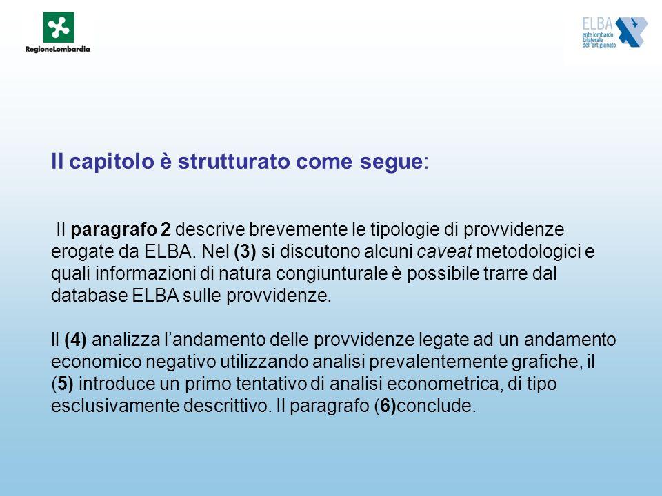 ll capitolo è strutturato come segue: Il paragrafo 2 descrive brevemente le tipologie di provvidenze erogate da ELBA. Nel (3) si discutono alcuni cave