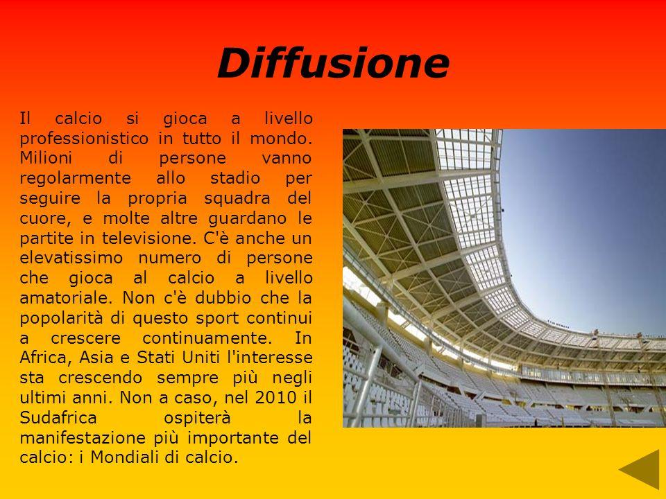 Diffusione Il calcio si gioca a livello professionistico in tutto il mondo. Milioni di persone vanno regolarmente allo stadio per seguire la propria s
