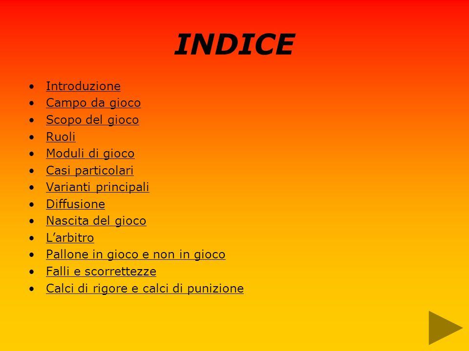 INDICE Introduzione Campo da gioco Scopo del gioco Ruoli Moduli di gioco Casi particolari Varianti principali Diffusione Nascita del gioco Larbitro Pa