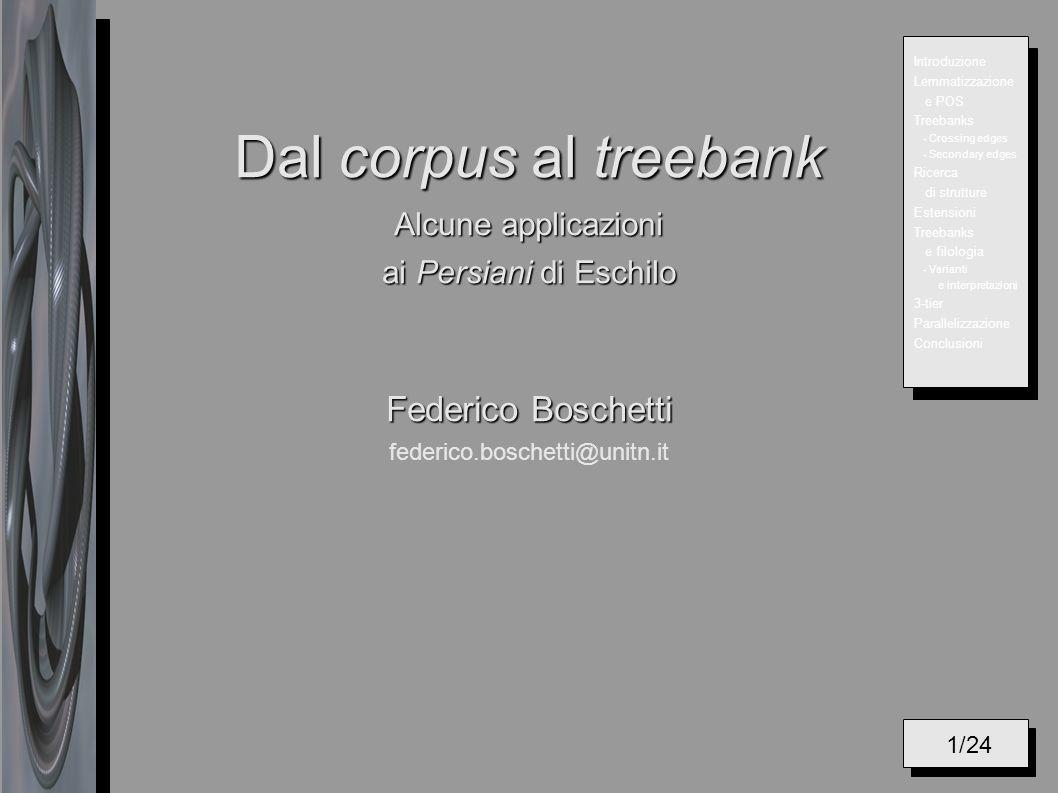 Dal corpus al treebank Alcune applicazioni ai Persiani di Eschilo Federico Boschetti Dal corpus al treebank Alcune applicazioni ai Persiani di Eschilo