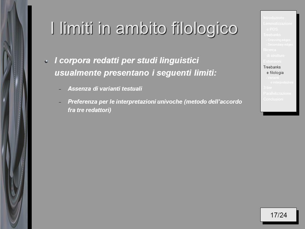 I limiti in ambito filologico I corpora redatti per studi linguistici usualmente presentano i seguenti limiti: Assenza di varianti testuali Preferenza