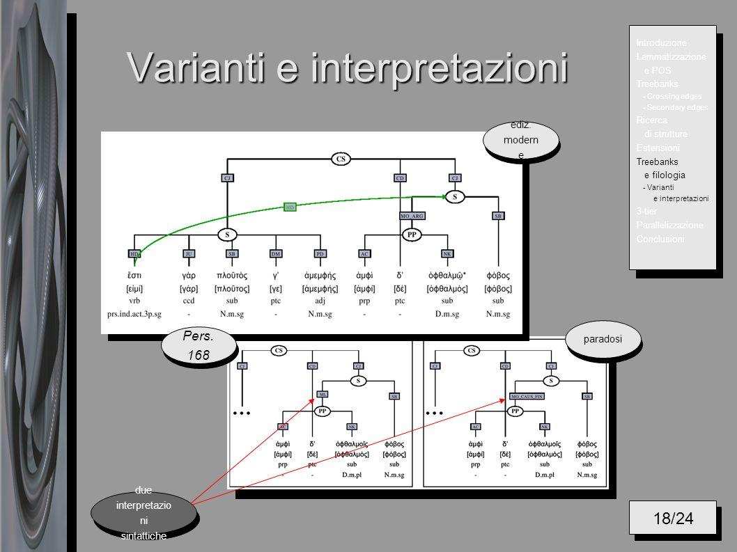 Varianti e interpretazioni 18/24 Introduzione Lemmatizzazione e POS Treebanks - Crossing edges - Secondary edges Ricerca di strutture Estensioni Treebanks e filologia - Varianti e interpretazioni 3-tier Parallelizzazione Conclusioni Pers.