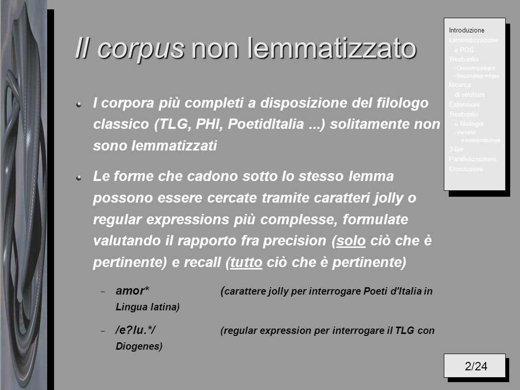 Il corpus non lemmatizzato I corpora più completi a disposizione del filologo classico (TLG, PHI, PoetidItalia...) solitamente non sono lemmatizzati L