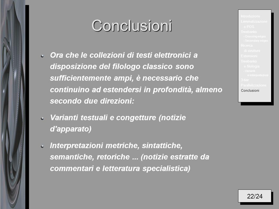 Conclusioni Ora che le collezioni di testi elettronici a disposizione del filologo classico sono sufficientemente ampi, è necessario che continuino ad
