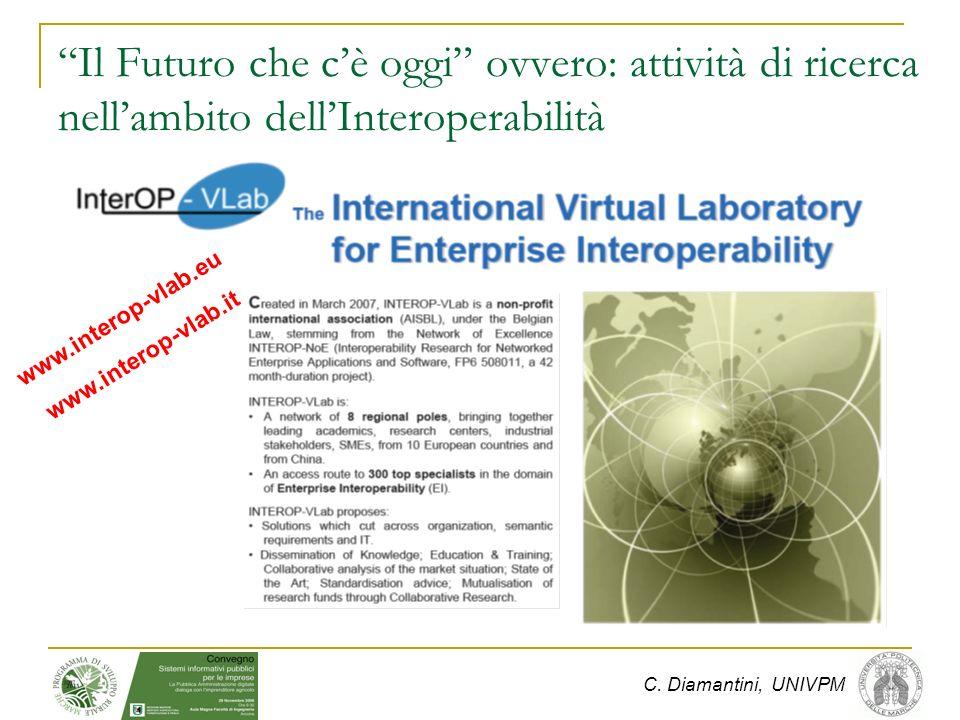C. Diamantini, UNIVPM www.interop-vlab.eu www.interop-vlab.it Il Futuro che cè oggi ovvero: attività di ricerca nellambito dellInteroperabilità