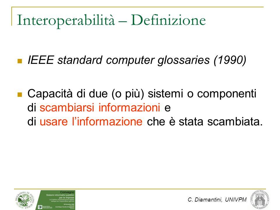 C. Diamantini, UNIVPM Interoperabilità – Definizione IEEE standard computer glossaries (1990) Capacità di due (o più) sistemi o componenti di scambiar