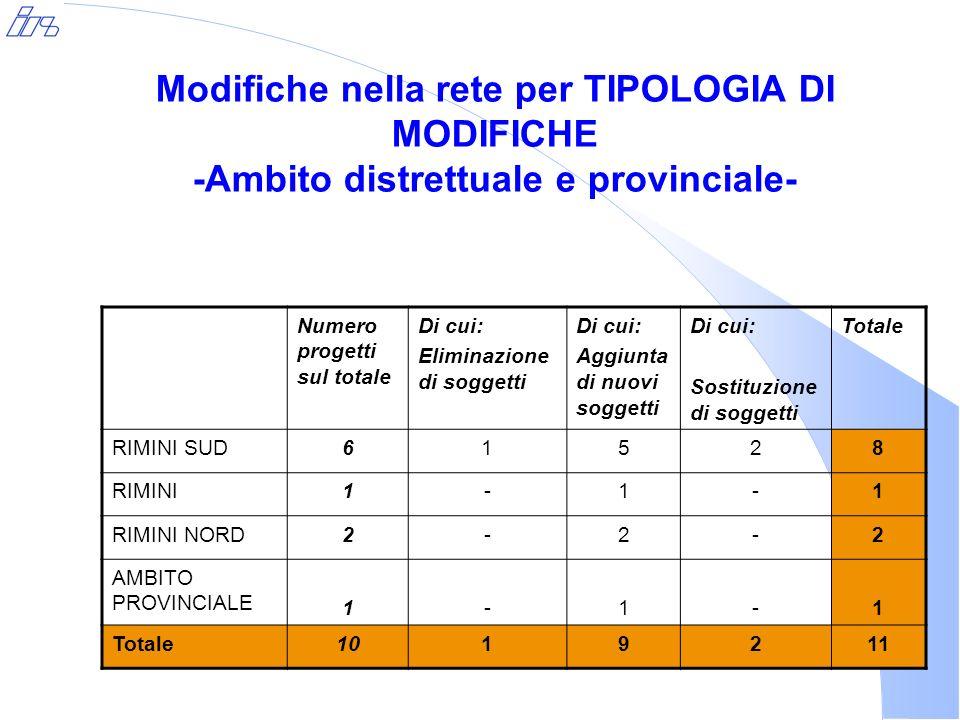 Modifiche nella rete per TIPOLOGIA DI MODIFICHE -Ambito distrettuale e provinciale- Numero progetti sul totale Di cui: Eliminazione di soggetti Di cui: Aggiunta di nuovi soggetti Di cui: Sostituzione di soggetti Totale RIMINI SUD61528 RIMINI1-1-1 RIMINI NORD2-2-2 AMBITO PROVINCIALE 1-1-1 Totale1019211