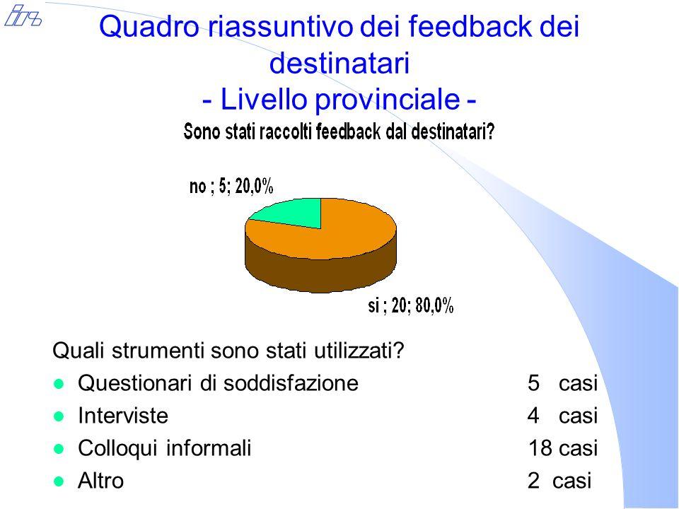 Quadro riassuntivo dei feedback dei destinatari - Livello provinciale - Quali strumenti sono stati utilizzati.