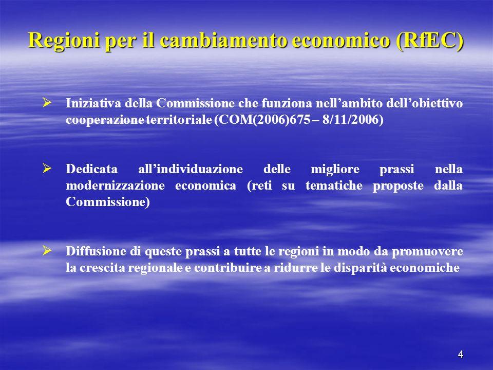 4 Regioni per il cambiamento economico (RfEC) Iniziativa della Commissione che funziona nellambito dellobiettivo cooperazione territoriale (COM(2006)6