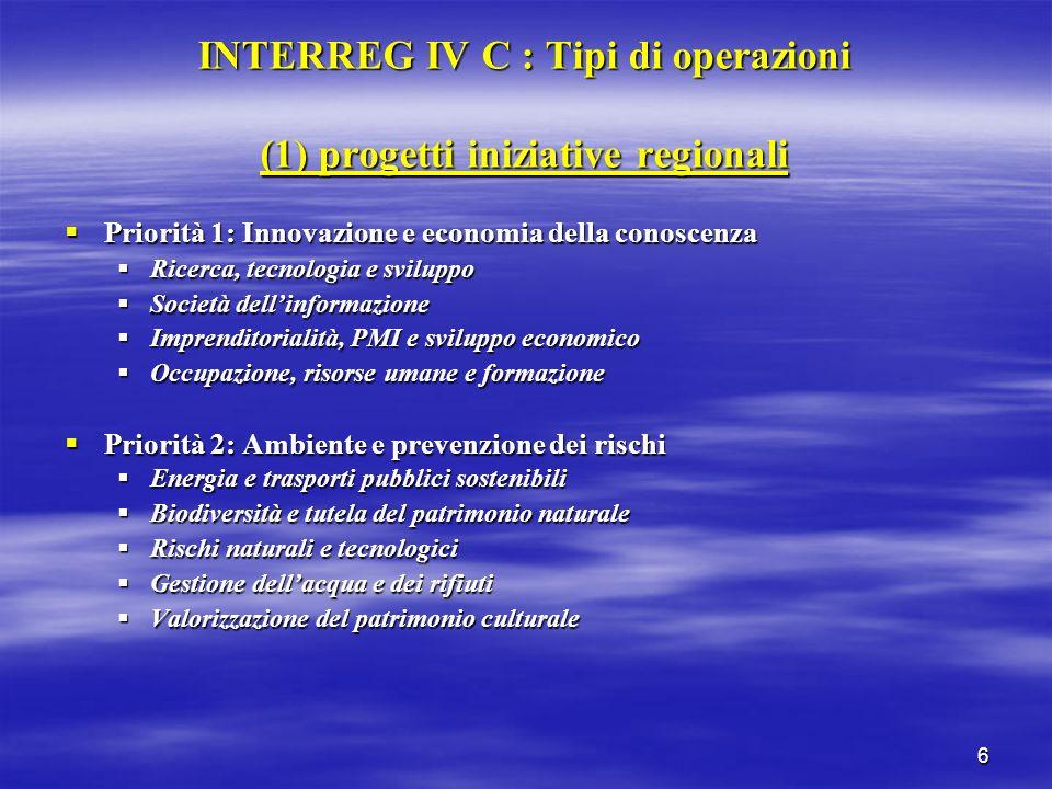 6 INTERREG IV C : Tipi di operazioni (1) progetti iniziative regionali Priorità 1: Innovazione e economia della conoscenza Priorità 1: Innovazione e e
