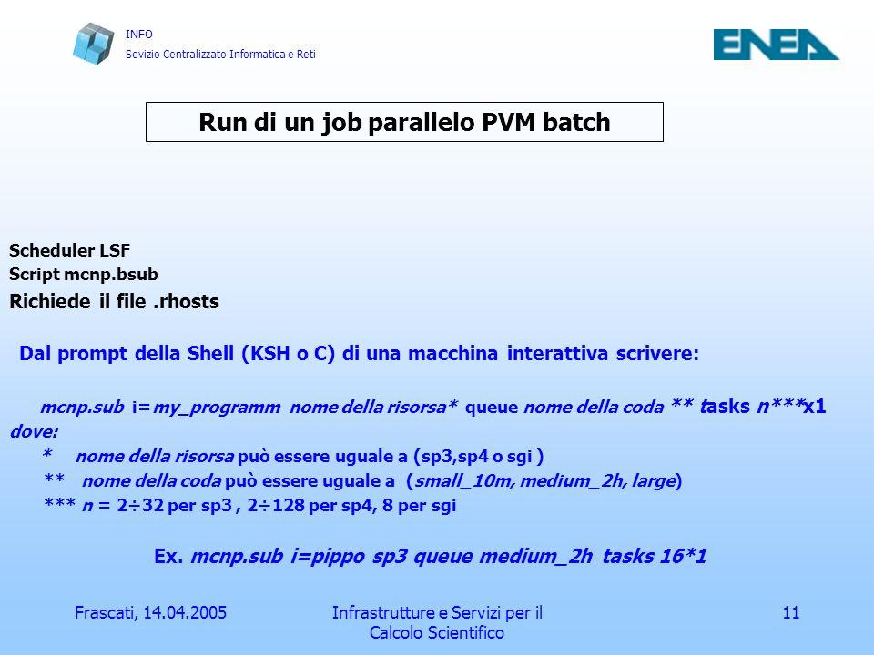 INFO Sevizio Centralizzato Informatica e Reti Frascati, 14.04.2005Infrastrutture e Servizi per il Calcolo Scientifico 11 Run di un job parallelo PVM batch Scheduler LSF Script mcnp.bsub Richiede il file.rhosts Dal prompt della Shell (KSH o C) di una macchina interattiva scrivere: mcnp.sub i=my_programm nome della risorsa* queue nome della coda ** tasks n***x1 dove: * nome della risorsa può essere uguale a (sp3,sp4 o sgi ) ** nome della coda può essere uguale a (small_10m, medium_2h, large) *** n = 2÷32 per sp3, 2÷128 per sp4, 8 per sgi Ex.