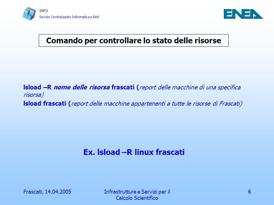 INFO Sevizio Centralizzato Informatica e Reti Frascati, 14.04.2005Infrastrutture e Servizi per il Calcolo Scientifico 7 Compilatori e ambienti paralleli I compilatori disponibili sono: IBM Fortran e C su sp3 e sp4 PGI Fortran su linux MPICH Fortran e C su sp3, sp4, i386_linux e sgi GNU (gcc g77) su linux SILICON GRAPHICS Fortran e C su sgi Gli ambienti paralleli disponibili sono: MPI POE su sp3 e sp4 PVM e MPICH su sp3, sp4, linux e sgi SMP OpenMP su sp3, sp4 e sgi OpenMP + MPI su sp3 e sp4 (parallelo misto)