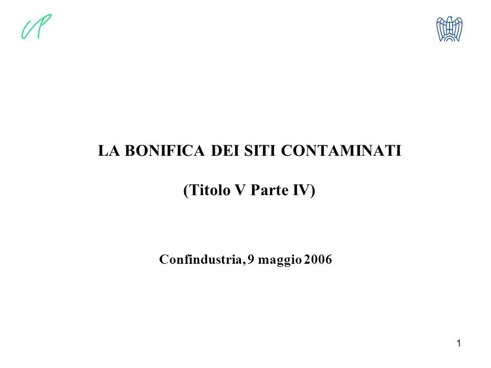 1 LA BONIFICA DEI SITI CONTAMINATI (Titolo V Parte IV) Confindustria, 9 maggio 2006