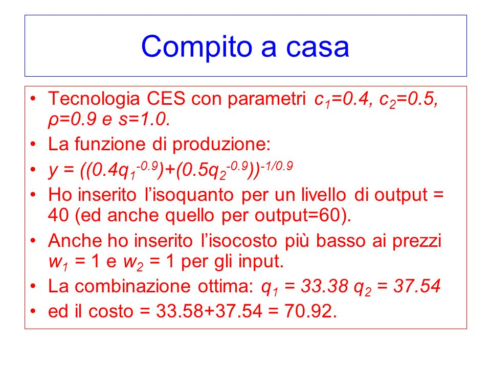 Compito a casa Tecnologia CES con parametri c 1 =0.4, c 2 =0.5, ρ=0.9 e s=1.0. La funzione di produzione: y = ((0.4q 1 -0.9 )+(0.5q 2 -0.9 )) -1/0.9 H