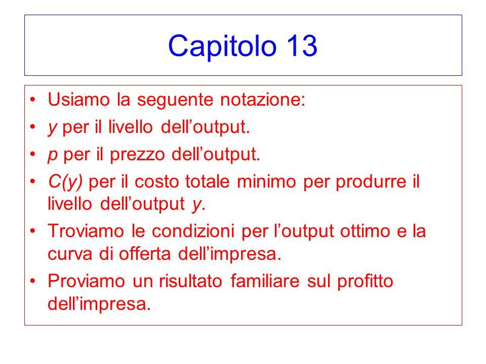 Capitolo 13 Usiamo la seguente notazione: y per il livello delloutput. p per il prezzo delloutput. C(y) per il costo totale minimo per produrre il liv
