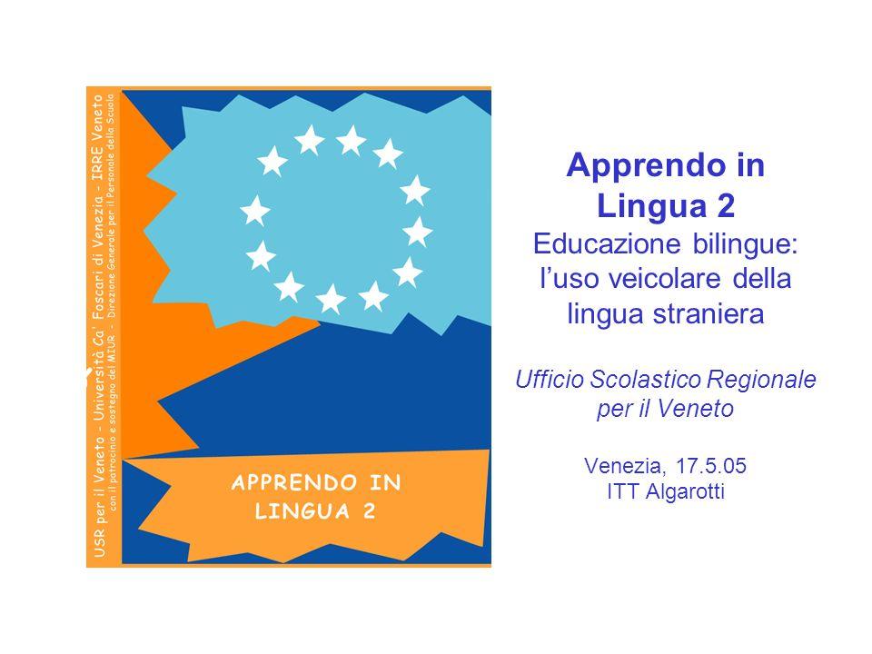 Apprendo in Lingua 2 Educazione bilingue: luso veicolare della lingua straniera Ufficio Scolastico Regionale per il Veneto Venezia, 17.5.05 ITT Algaro