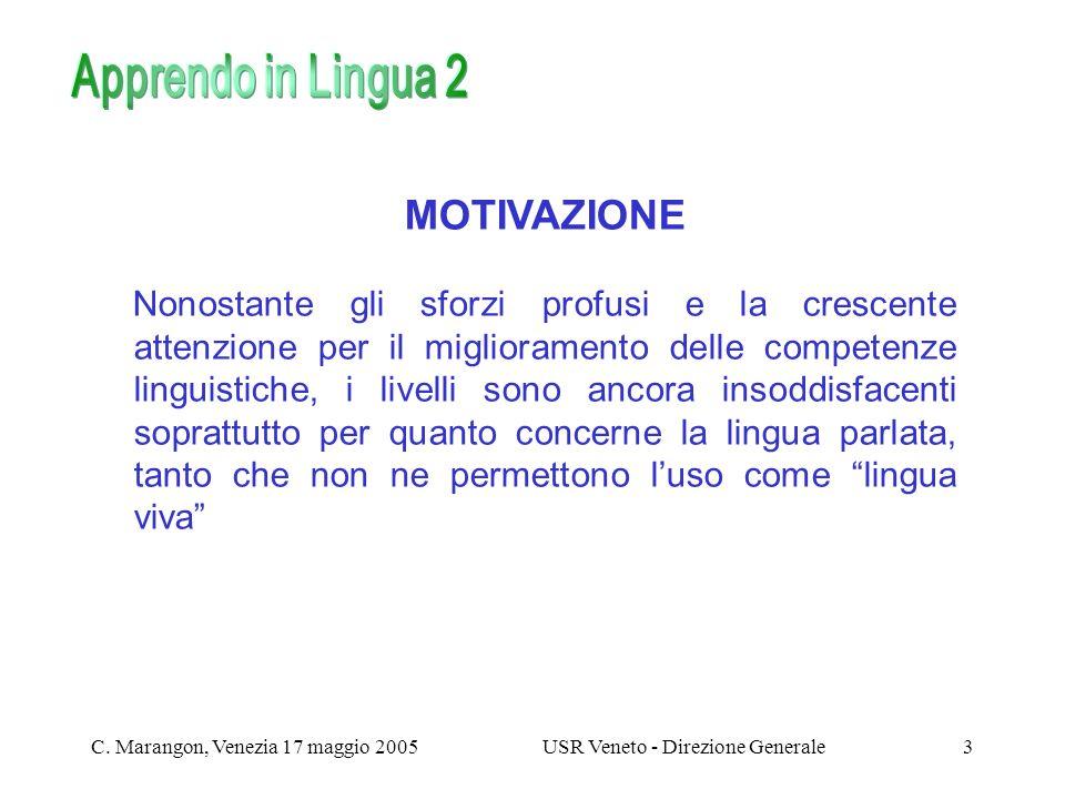 C. Marangon, Venezia 17 maggio 2005USR Veneto - Direzione Generale3 MOTIVAZIONE Nonostante gli sforzi profusi e la crescente attenzione per il miglior