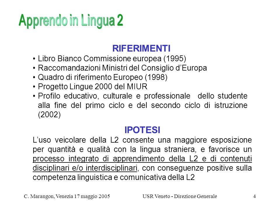 C. Marangon, Venezia 17 maggio 2005USR Veneto - Direzione Generale4 RIFERIMENTI Libro Bianco Commissione europea (1995) Raccomandazioni Ministri del C