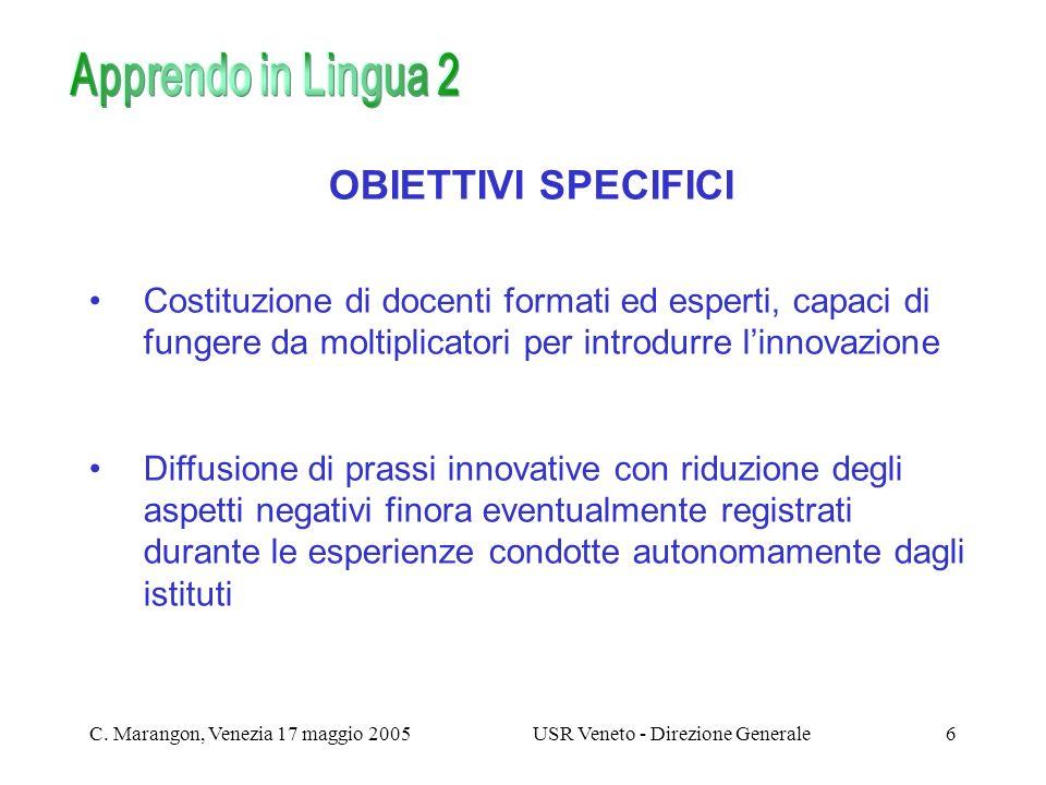 C. Marangon, Venezia 17 maggio 2005USR Veneto - Direzione Generale6 OBIETTIVI SPECIFICI Costituzione di docenti formati ed esperti, capaci di fungere