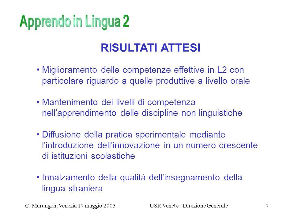 C. Marangon, Venezia 17 maggio 2005USR Veneto - Direzione Generale7 RISULTATI ATTESI Miglioramento delle competenze effettive in L2 con particolare ri