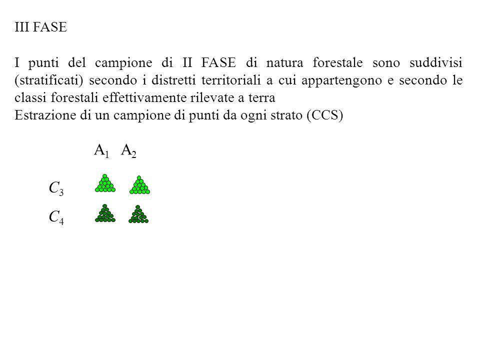 III FASE I punti del campione di II FASE di natura forestale sono suddivisi (stratificati) secondo i distretti territoriali a cui appartengono e secondo le classi forestali effettivamente rilevate a terra Estrazione di un campione di punti da ogni strato (CCS) A 1 A 2 C3C4C3C4
