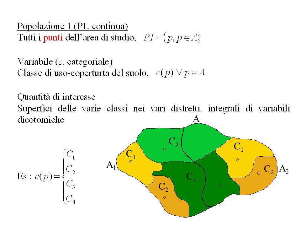 Estrazione di un campione di punti da ogni strato (CCS) I punti selezionati sono visitati a terra per rilevare la classe di uso-copertura del suolo La II FASE è sufficiente per ottenere stimatori corretti delle superfici e stimatori conservativi delle loro varianze (FMP-2004) Calibrazione delle stime di superficie in modo che le somme siano coerenti con le superfici dei distretti territoriali (FMP-2006) A 1 A 2 Ca 1 Ca 2 Ca 3 Ca 4 ESTRAZIONE A 1 A 2 Ca 1 Ca 2 Ca 3 Ca 4 ?