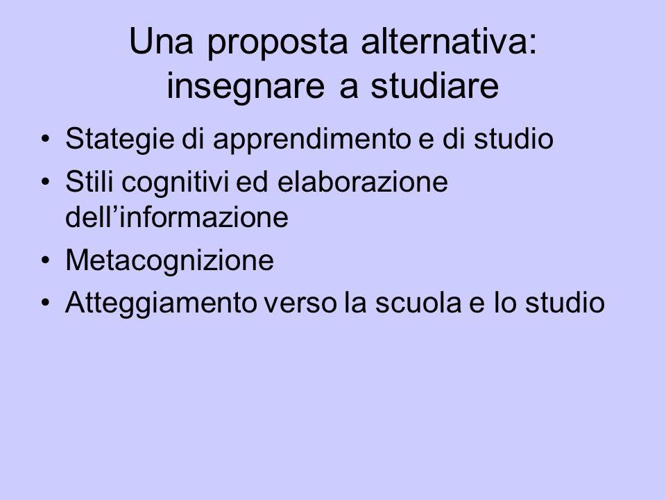 Una proposta alternativa: insegnare a studiare Stategie di apprendimento e di studio Stili cognitivi ed elaborazione dellinformazione Metacognizione A